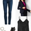 Ankle jeans with a navy Talbots blazer and black J. Crew camisole