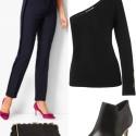 Black Universal Standard Yarra Shrug sweater with navy Talbots pants