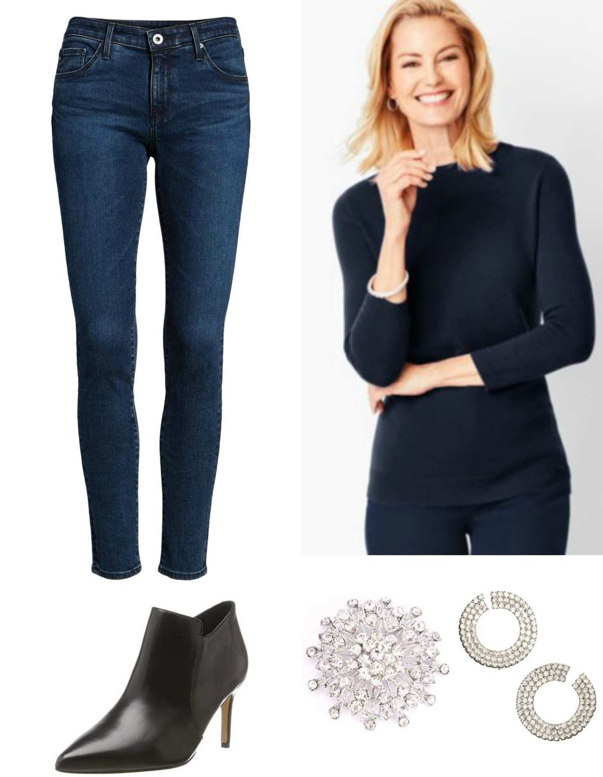Navy cashmere sweater with navy ankle jeans and a sparkly brooch