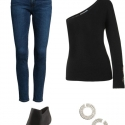 Universal Standard Yarra Shrug with ankle jeans
