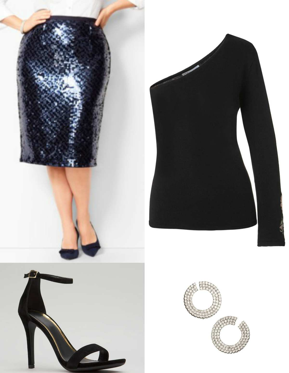Black one shoulder sweater with navy sequined skirt
