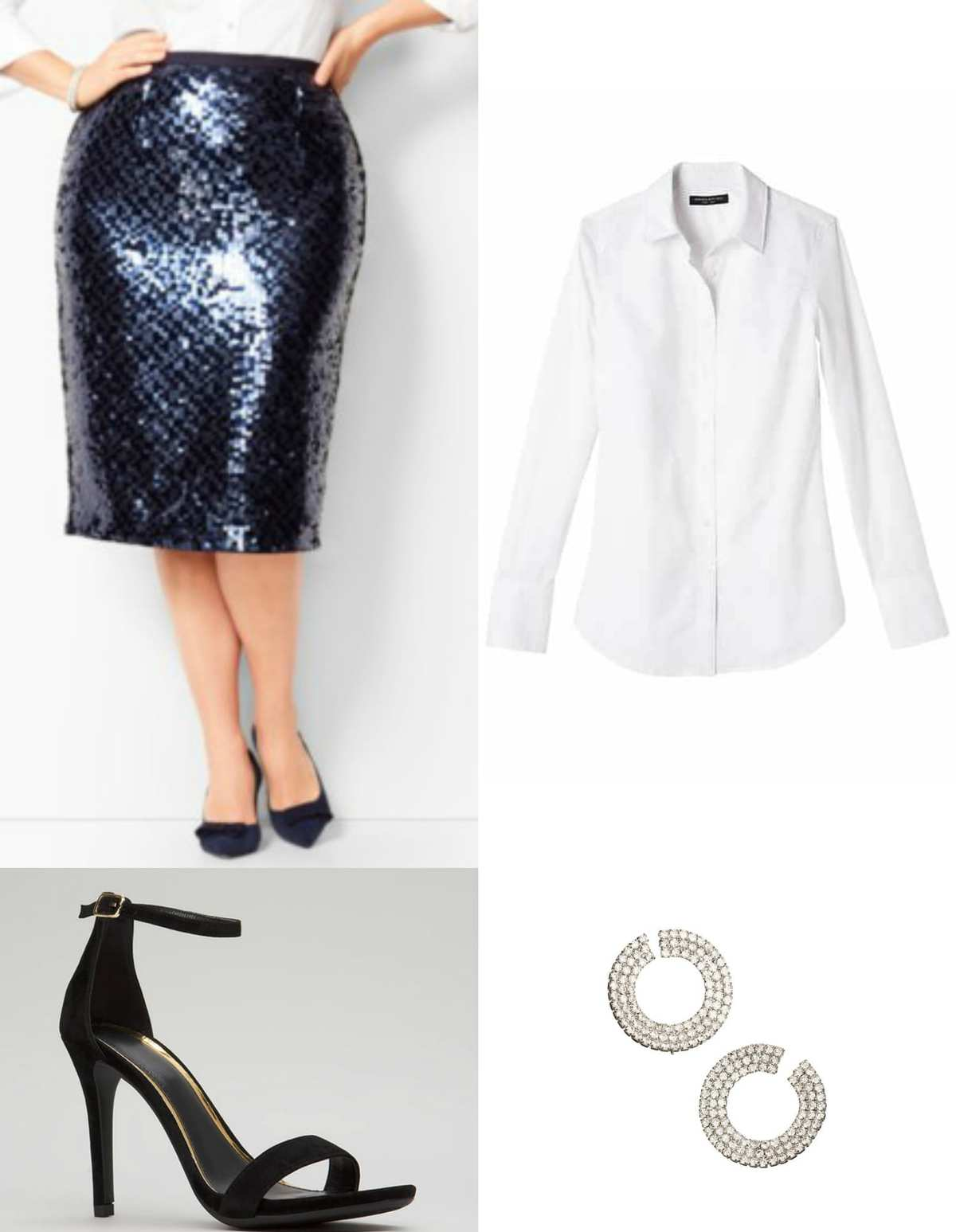 White button front shirt with navy sequined pencil skirt
