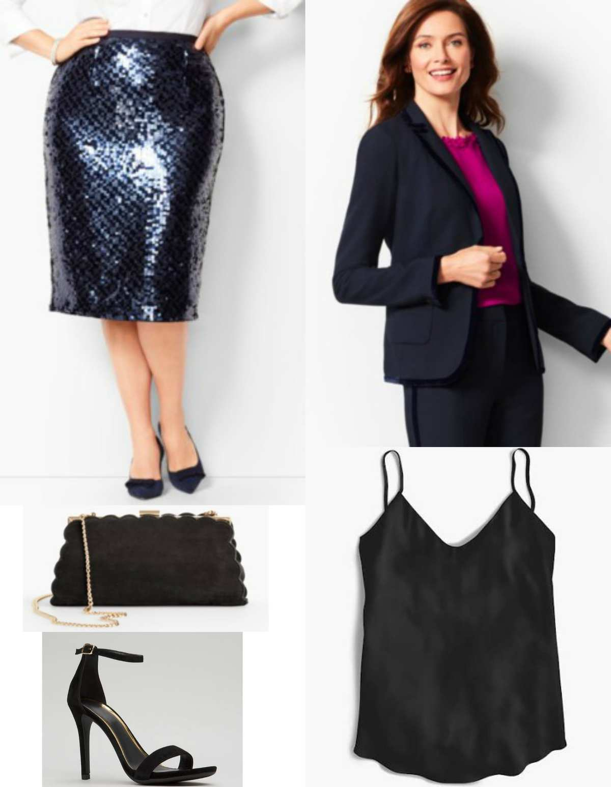 Navy sequined skirt with navy velvet trimmed blazer and black camisole