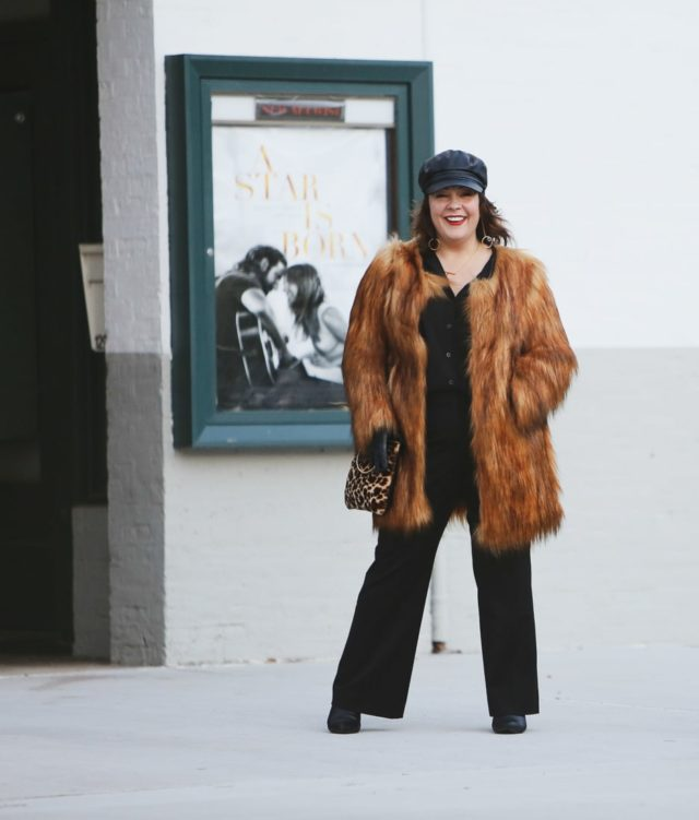 Unreal Fur Wanderlust coat in Brown as seen on Alison Gary of Wardrobe Oxygen