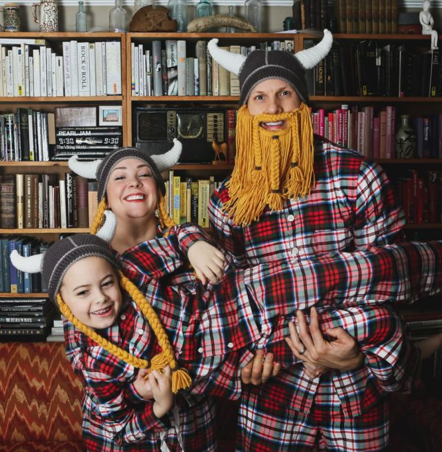 Lands' End plaid flannel pajamas for the whole family as seen on Alison Gary of Wardrobe Oxygen, her husband, and daughter
