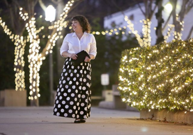 Talbots Dot Maxi Skirt with white shirt and Isa embellished velvet pumps