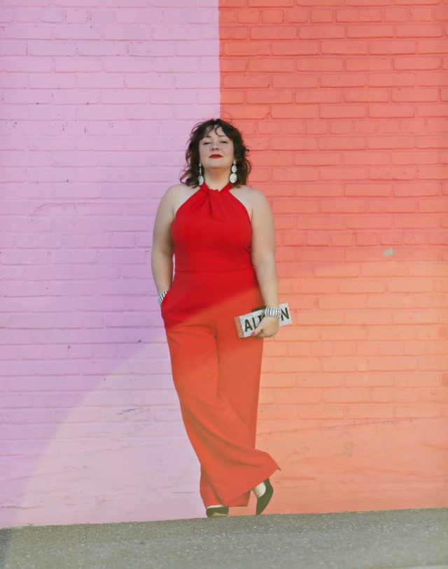 Red crepe jumpsuit from Dress Barn on Wardrobe Oxygen