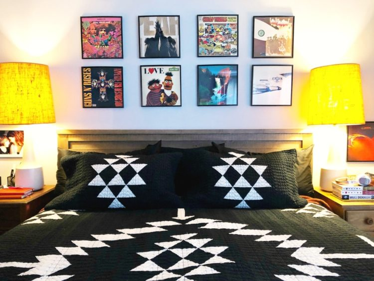 Using record albums as a frames for home decor above a bed