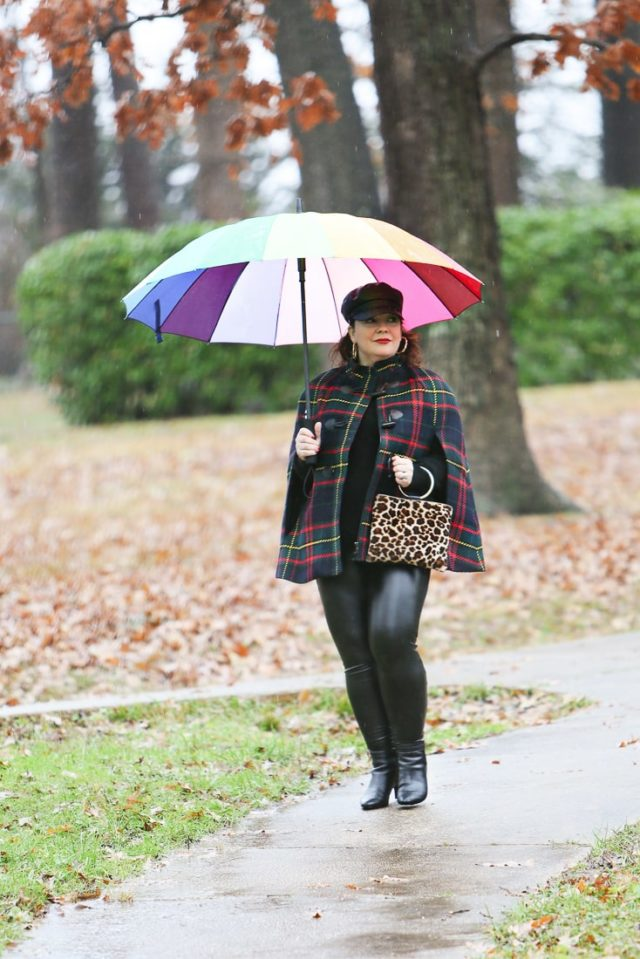 talbots plaid cape with faux leather leggings from old navy
