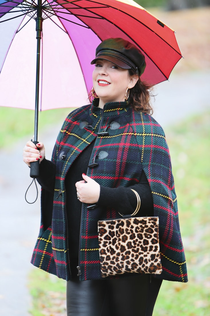 talbots plaid cape with leopard calf hair ring purse