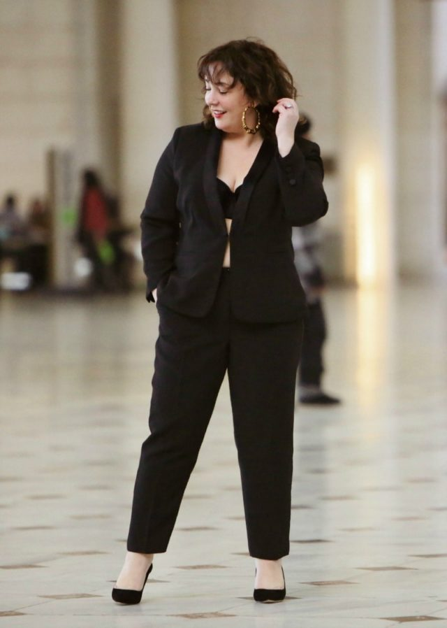 Wardrobe Oxygen in a black refined crepe Le Smoking or women's tuxedo From Talbots at Union Station in Washington DC