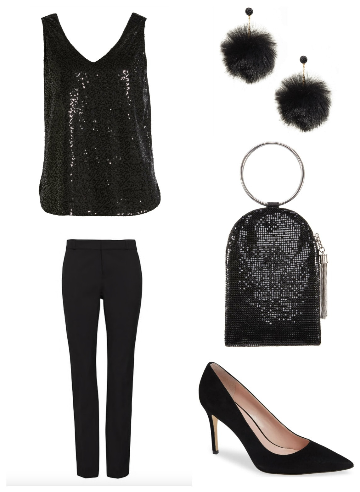 Black cocktail outfit with pants