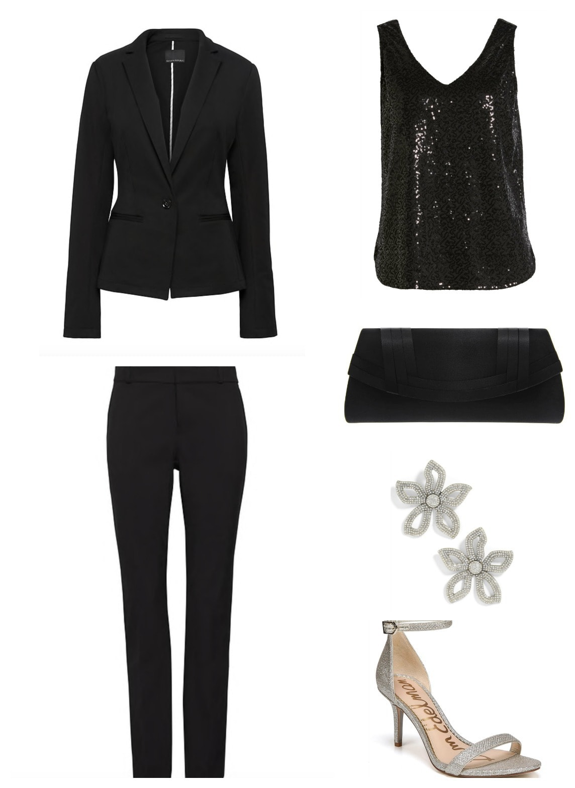 Black dressy cocktail pantsuit with silver and black accents