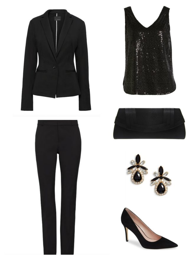 Delicate earrings and a subtle clutch make this cocktail pantsuit look more reserved for a work function.
