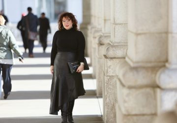 What I Wore: Asymmetrical Black Leather Skirt