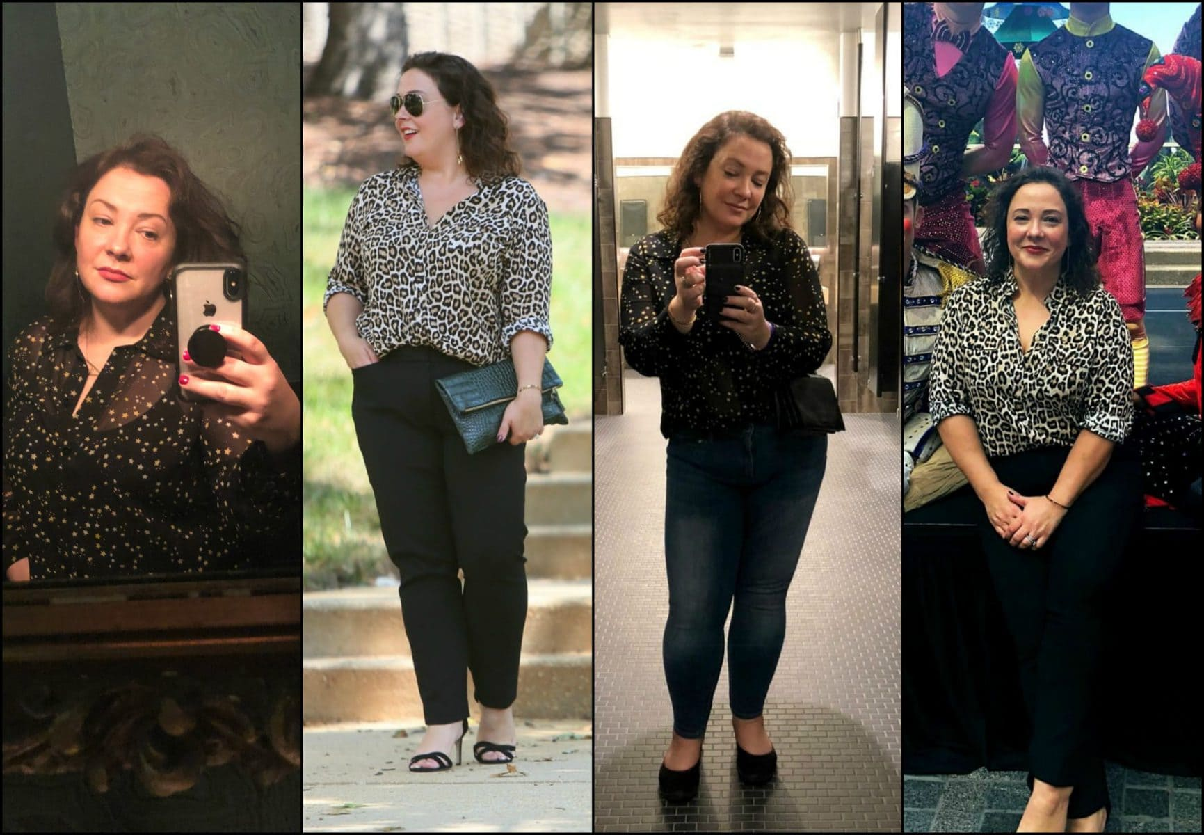 cabi galaxy blouse and chicos leopard shirt