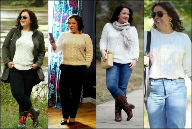 the versatility of an ivory cotton cablenknit sweater