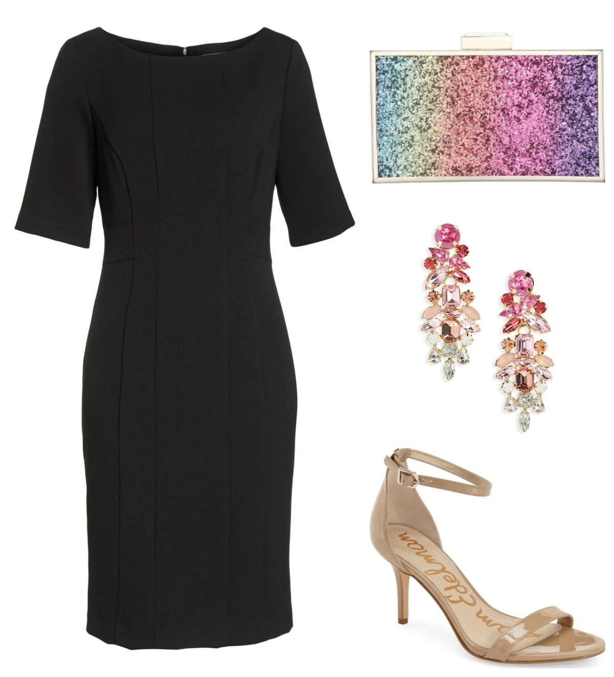 Lighten up a not-so little black dress with nude heels and colorful accessories.