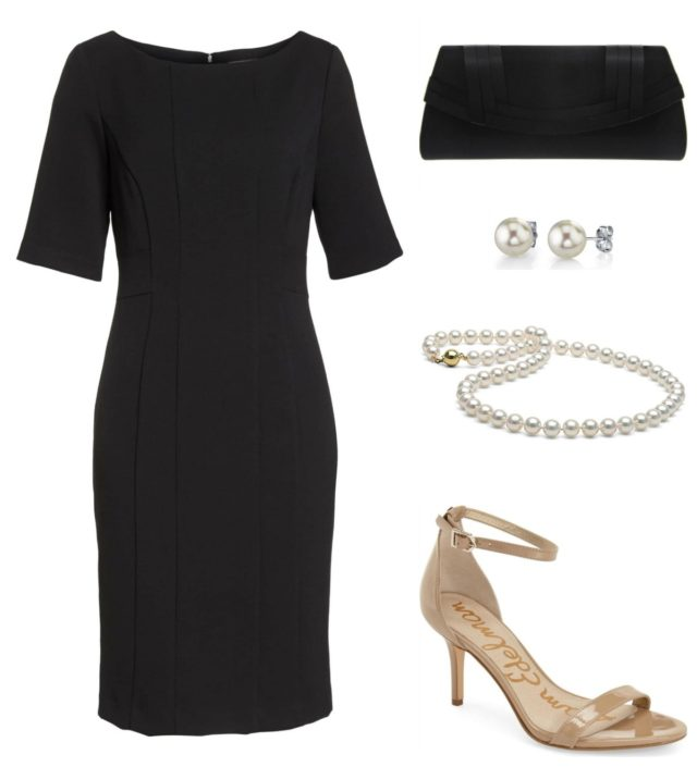 For a day wedding, style a black dress with pearls and nude heels