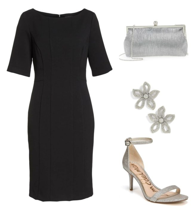 Black with silver makes for an elegant after five ensemble