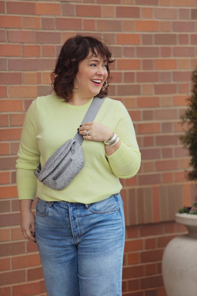 Wardrobe Oxygen with the heather gray Ace Fanny Pack from Dagne Dover with a Citron cashmere crew from Everlane