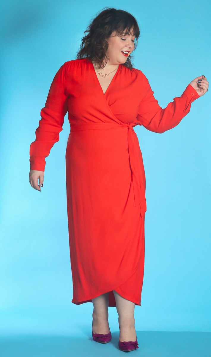universal standard red wrap dress 4
