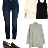 Casual Friday glammed up with polished loafers and a pendant necklace