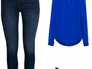 A silky blouse and pumps glam up jeans for Casual Friday