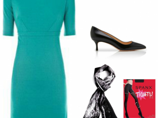 Oh the power of a scarf! A scarf and opaque tights will transform a basic ponte work dress.