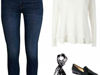 A scarf will add pizzazz and polish to a sweater and jeans for Casual Friday.
