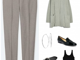 Neutrals that are similar but not the same look cohesive with modern silver and black accessories.  Use a simple tank or T from your wardrobe under the sweater for modesty.