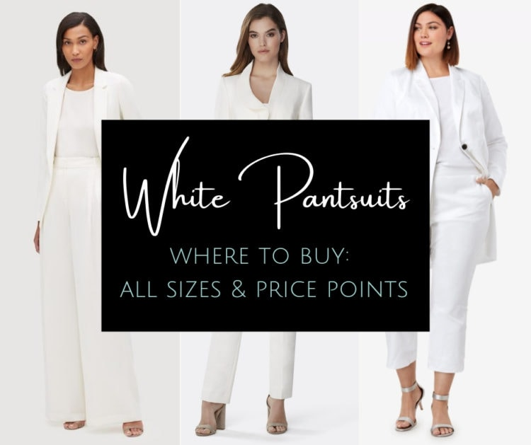 Where to find white pantsuits for women - a variety of styles, sizes, and price points by Wardrobe Oxygen