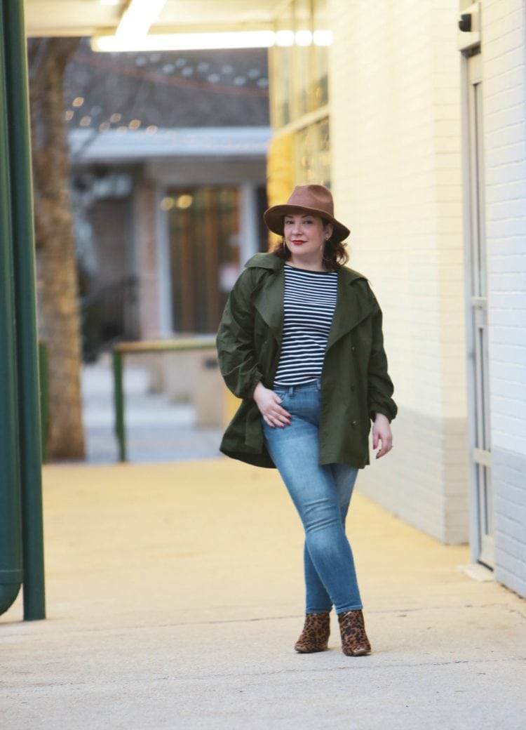 Wardrobe Oxygen in the cabi Expedition Jacket with leopard ankle boots and a leather Stetson safari hat #cabiclothing #expeditionjacket #over40fashion