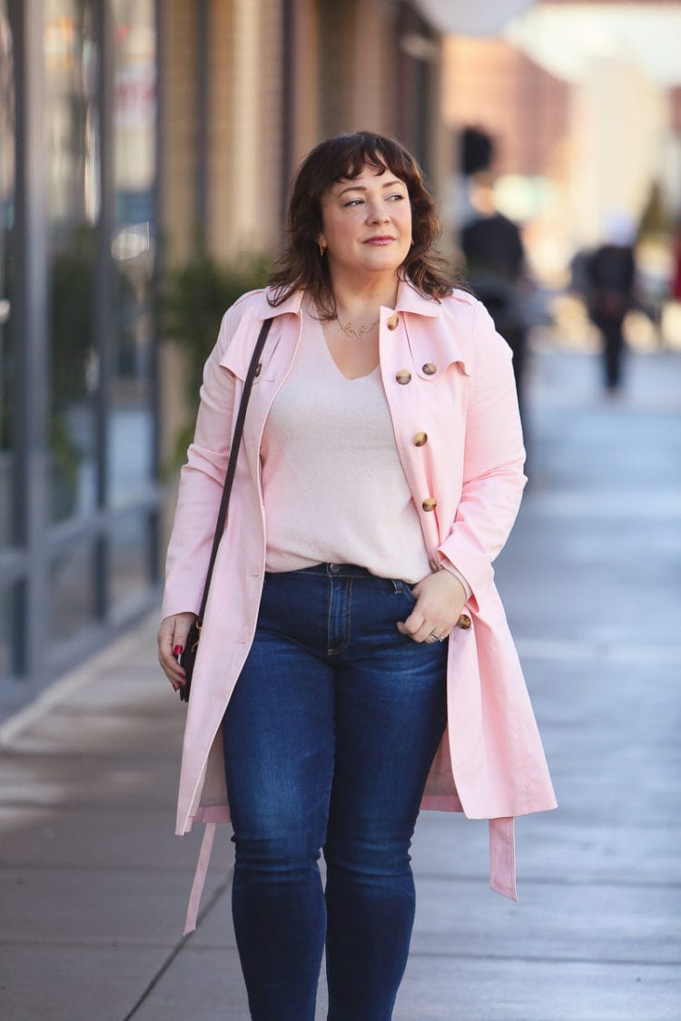 Wardrobe Oxygen in a pink trench coat from Talbots with Mott & Bow cashmere sweater, AG The Prima jeans and nude pumps #moderclassicstyle