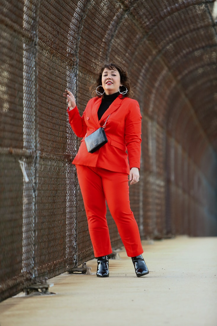 Red double breasted twill pantsuit from 1901 with Universal Standard Foundation turtleneck and black patent ankle booties