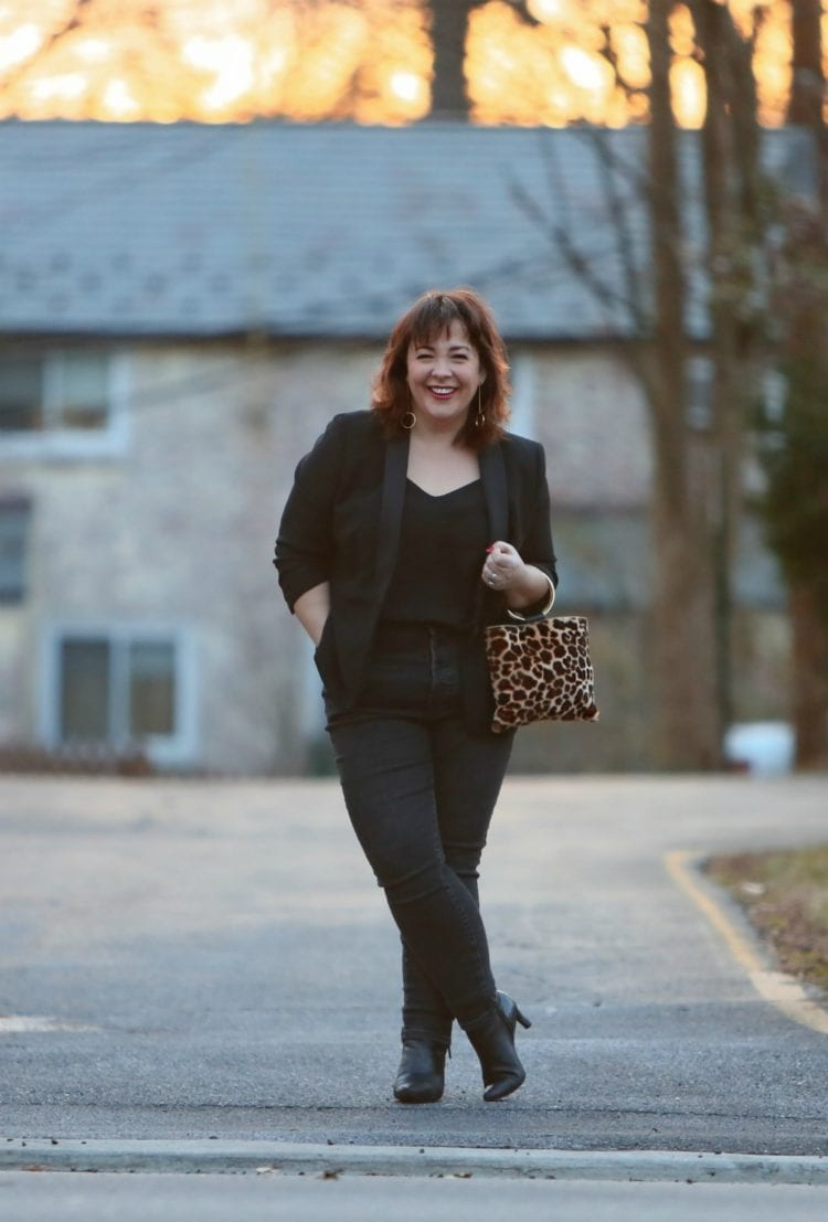 Wardrobe Oxygen in a Talbots Le Smoking jacket, Everlane high waisted jeans, and a Thacker NYC leopard calf hair ring handle purse #40plusstyle