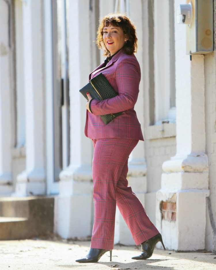 66f02bfc2c8 What I Wore  Pink Plaid Pantsuit with Green