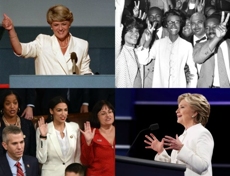 why women politicians wear white and where you can find a white pantsuit online in any size or price point