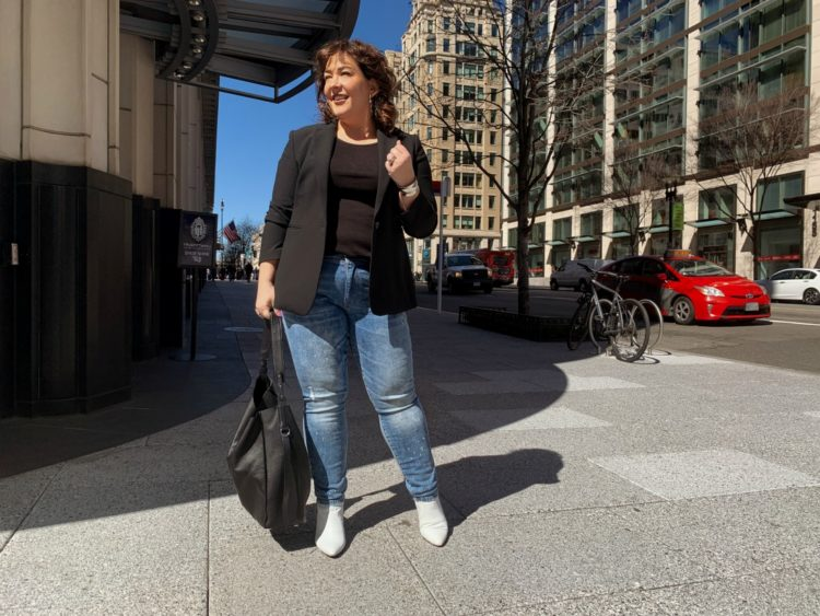 Black Ann Taylor Bi-Stretch one button blazer with Universal Standard Loire ribbed tank and Cabi Cinch Skinny jeans as seen on Wardrobe Oxygen