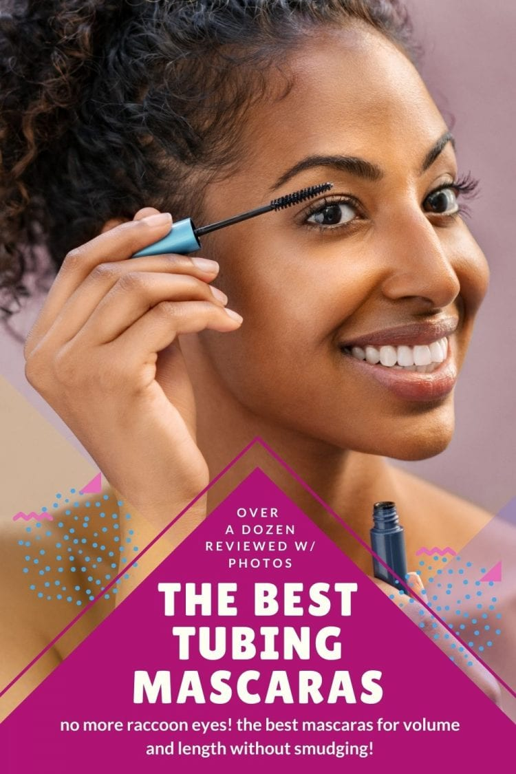 a list of the best tubing mascaras featuring a woman applying mascara