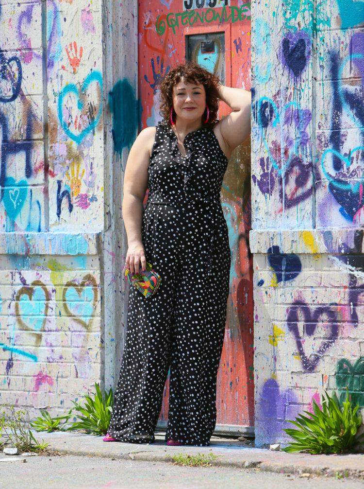 Black and white polka dot chiffon jumpsuit on Wardrobe Oxygen