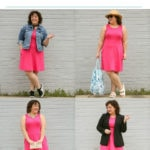 Collage of four images of a woman wearing a pink dress with the text above stating styling one dress four ways