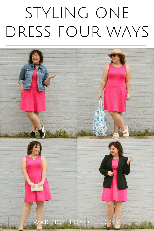 Tips on how to style one dress four ways for spring and summer to have the dress great for work, weekend, weddings, and beyond by Wardrobe Oxygen