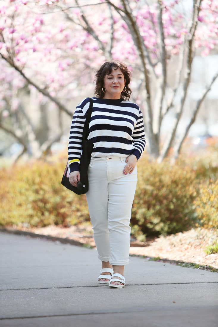 The Ev1 collection by Ellen DeGeneres striped sweater and white high waisted jeans as seen on Alison Gary of Wardrobe Oxygen