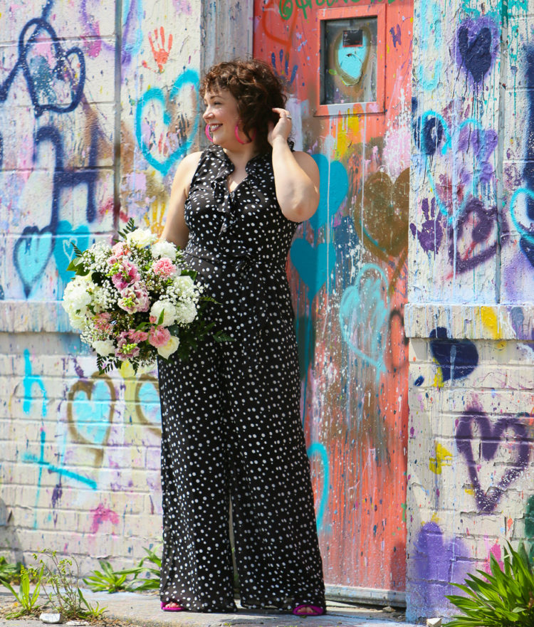 Black and white polka dot chiffon jumpsuit on Wardrobe Oxygen