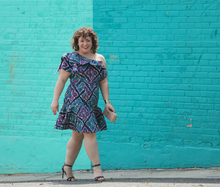 Blue printed cotton off the shoulder ruffled dress from Josie on Wardrobe Oxygen, over 40 fashion blogger