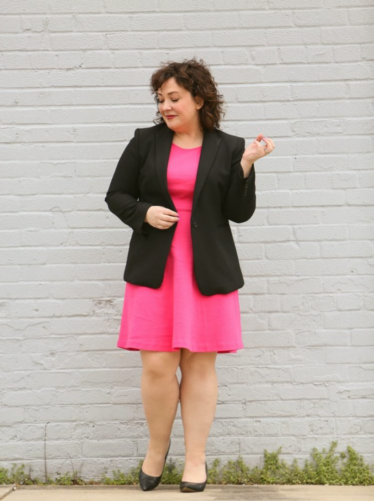 Styling one dress four ways featuring a pink knit fit and flare dress from Talbots with a black bi-stretch blazer from Ann Taylor for a work outfit