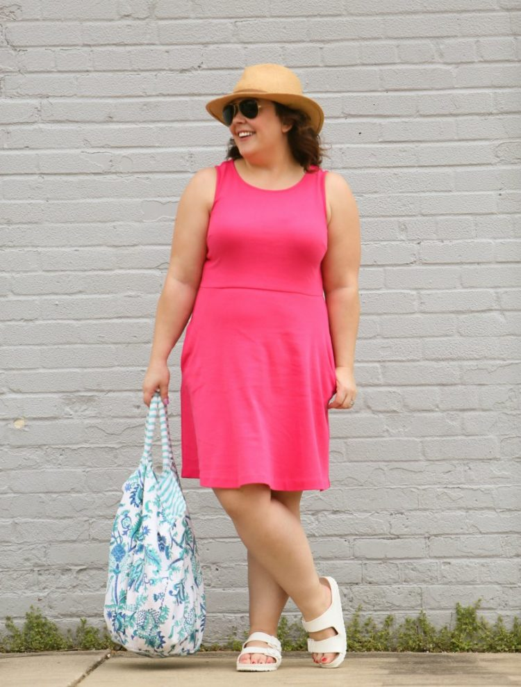 Styling one dress four ways featuring a pink knit fit and flare dress from Talbots with a Roberta Roller Rabbit floral cotton tote, white EVA BIrkenstock Arizona sandals and a straw Panama hat from Banana Republic