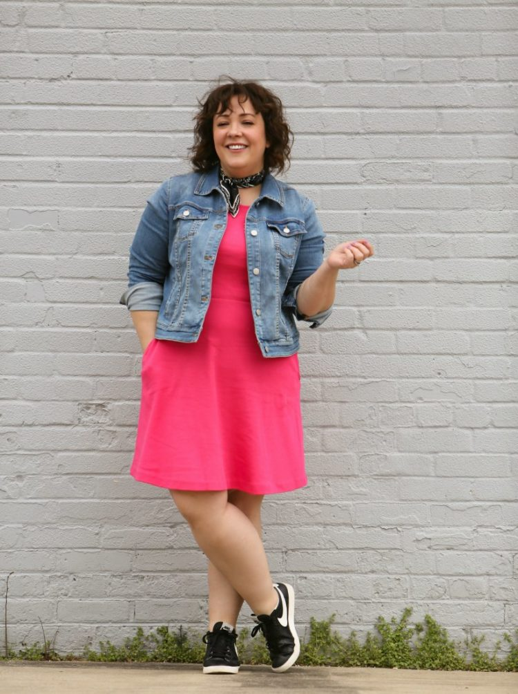 Styling one dress four ways featuring a pink knit fit and flare dress from Talbots with a Soma denim jacket and Nike Blazer low top sneakers in black