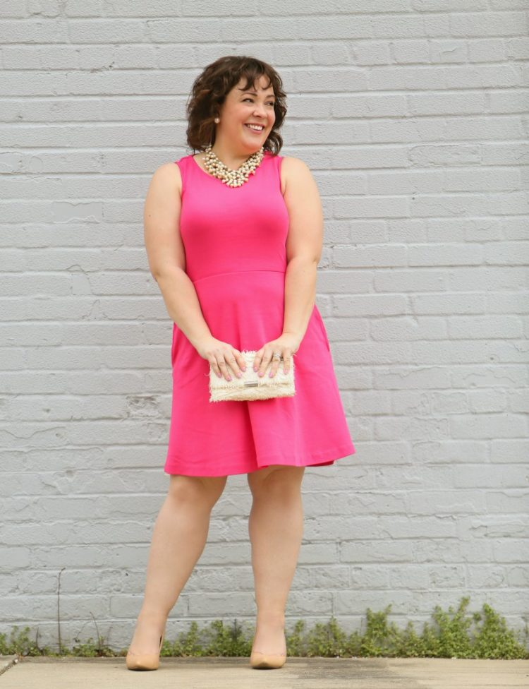 Styling one dress four ways featuring a pink knit fit and flare dress from Talbots with a pearl statement necklace from Stella and Dot and an ivory Loeffler Randall tab clutch purse